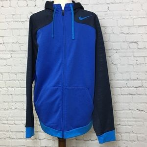 Nike therma-fit zip hoodie, royal blue and navy XL